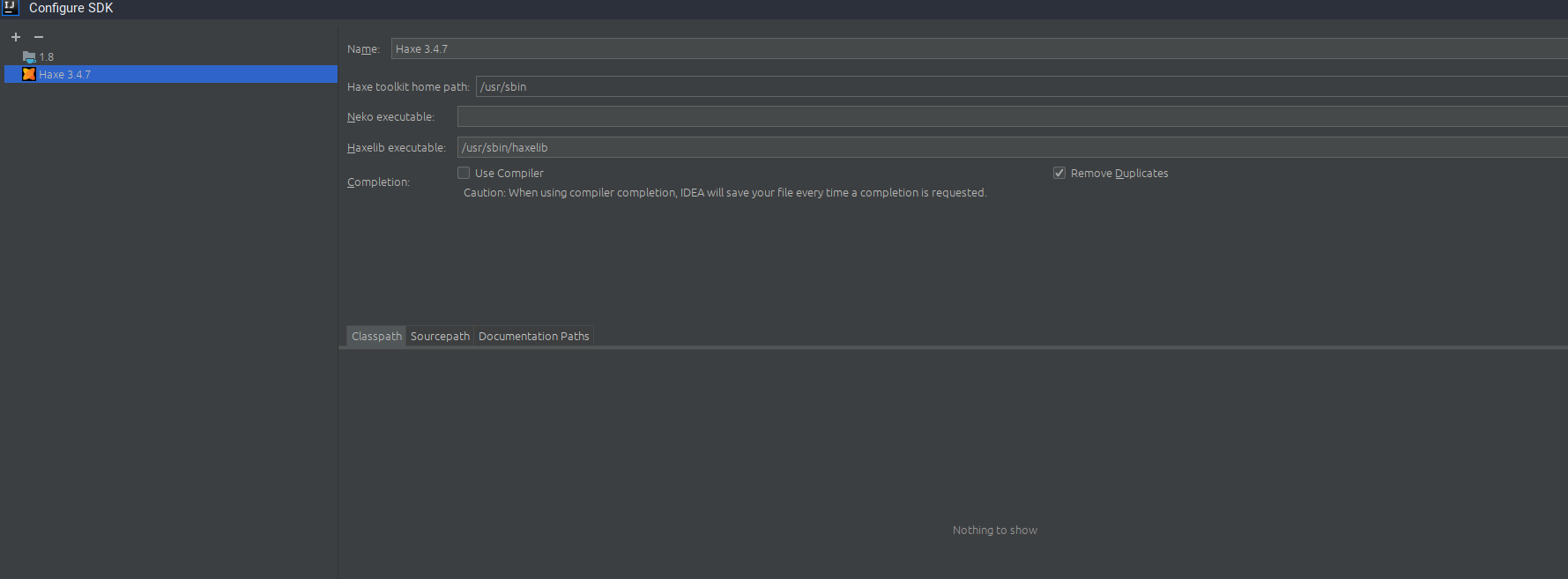 IDEA error - Haxe SDK has no valid root  Set up or change